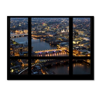 Philippe Hugonnard 'Window View London by Night 2' 35x47 Canvas Wall Art