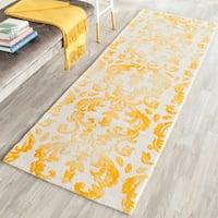 "Safavieh Hand-Tufted Dip Dye Ivory/ Gold Wool Rug - 2'3"" x 8'"