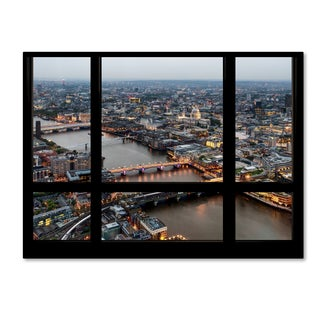 Philippe Hugonnard 'Window View London at Dusk 2' 35x47 Canvas Wall Art