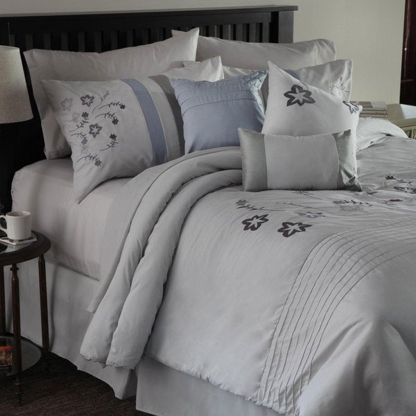 Windsor Home White with Stars 7 Piece Embroidered Comforter Set
