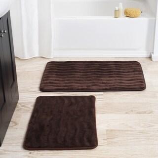 Windsor Home 2 Piece Memory Foam Bath Mat Set   Chocolate