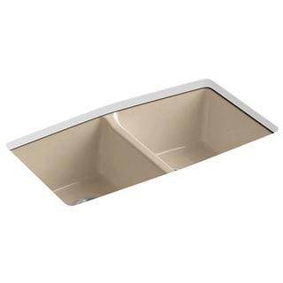 Kohler Brookfield Undermount Cast Iron 33 inch 5-Hole Double Bowl Kitchen Sink