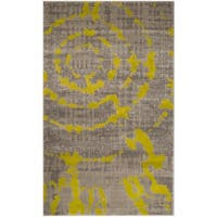 Safavieh Porcello Abstract Contemporary Light Grey/ Green Runner Rug - 2'4 x 6'7