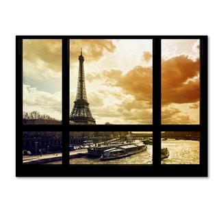 Philippe Hugonnard 'Window View Paris at Sunset 2' 35x47 Canvas Wall Art