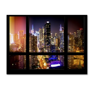 Philippe Hugonnard 'Window View Manhattan Night 2' 35x47 Canvas Wall Art