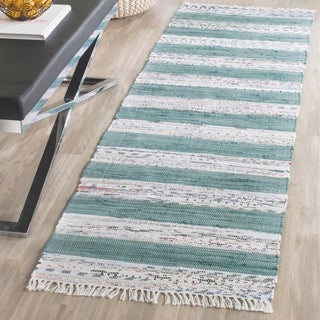 Safavieh Hand-Woven Montauk Ivory/ Charcoal Cotton Rug (2'3 x 7')