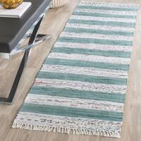 Safavieh Hand-Woven Montauk Ivory/ Charcoal Cotton Rug - 2'3 x 7'