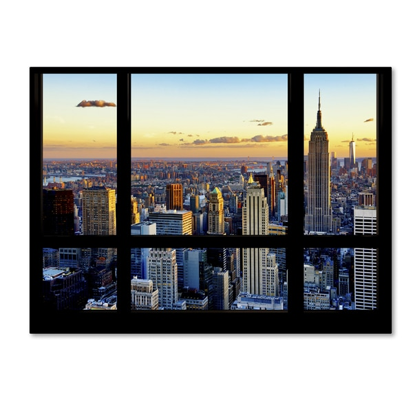 Philippe Hugonnard 'Window View NYC Sunset 2' 35x47 Canvas Wall Art