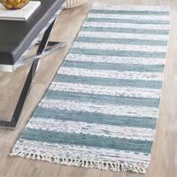Safavieh Montauk Hand-Woven Flatweave White/ Grey Stripe Cotton Rug - 2'3 x 7'