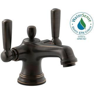 Kohler Bancroft Monoblock Single Hole 2-Handle Mid-Arc Bathroom Faucet with Metal Lever Handle in Oil-Rubbed Bronze