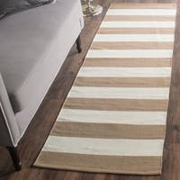 Safavieh Hand-woven Montauk Sand/ Ivory Cotton Rug - 2'3 x 7'