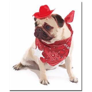 Gifty Idea Greeting Cards and Such! 'Pug Cowboy' 26x32 Canvas Wall Art