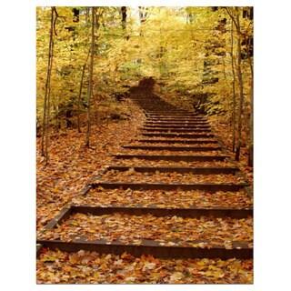 Kurt Shaffer 'Fall Stairway' 24x36 Canvas Wall Art