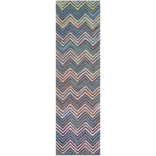Safavieh Handmade Nantucket Waltraut Contemporary Cotton Rug (23 x 6 Runner - Beige/Blue)