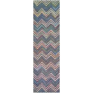 Safavieh Handmade Nantucket Waltraut Contemporary Cotton Rug (23 x 8 Runner - Beige/Blue)