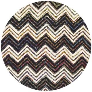 Safavieh Handmade Nantucket Waltraut Contemporary Cotton Rug (4 x 4 Round - Ivory/Black)