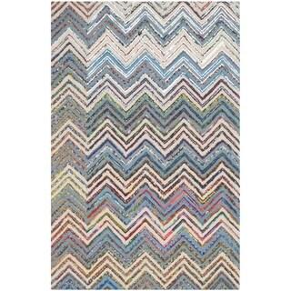 Safavieh Handmade Nantucket Waltraut Contemporary Cotton Rug (3 x 5 - Beige/Blue)