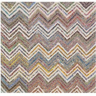 Safavieh Handmade Nantucket Waltraut Contemporary Cotton Rug (4 x 4 Square - Beige/Grey)