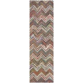 Safavieh Handmade Nantucket Waltraut Contemporary Cotton Rug (23 x 8 Runner - Beige/Grey)