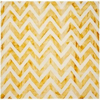 Safavieh Handmade Dip Dye Watercolor Vintage Ivory/ Gold Wool Rug (7' Square)