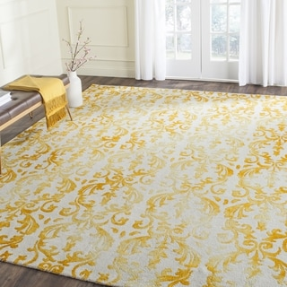 Safavieh Hand-Tufted Dip Dye Ivory/ Gold Wool Rug (7' Square)