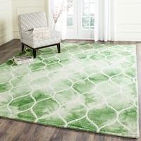 Safavieh Handmade Dip Dye Watercolor Vintage Green/ Ivory Wool Rug - 7' Square