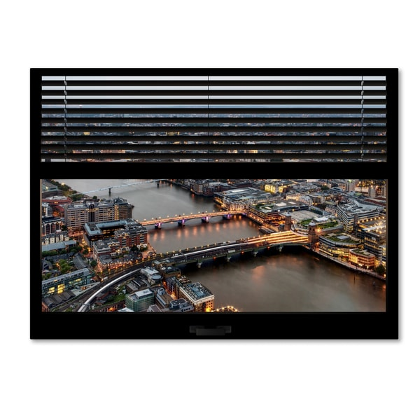 Philippe Hugonnard 'Window View London at Dusk 1' 24x32 Canvas Wall Art