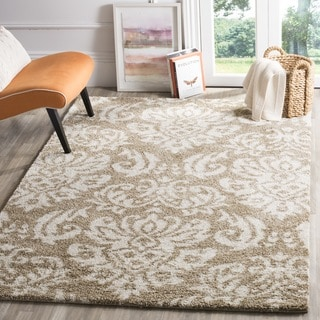 Safavieh Florida Shag Beige/ Cream Damask Runner (2'3 x 4')