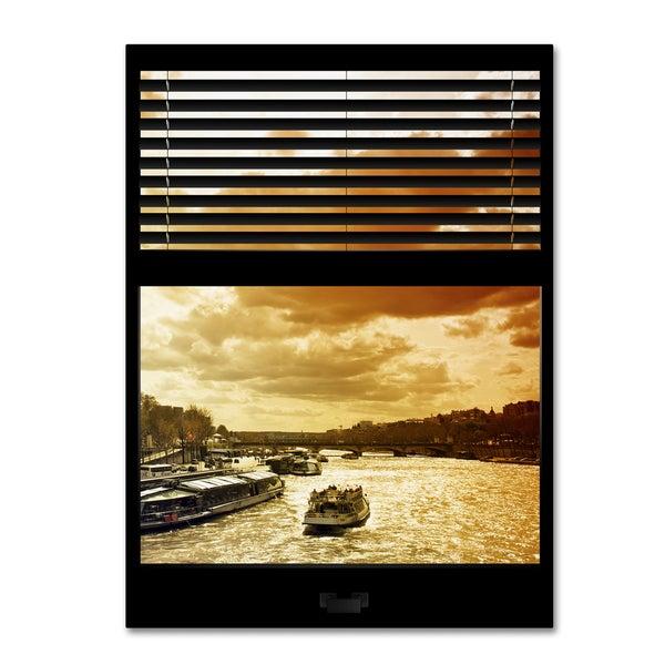 Philippe Hugonnard 'Window View Paris at Sunset 6' 24x32 Canvas Wall Art