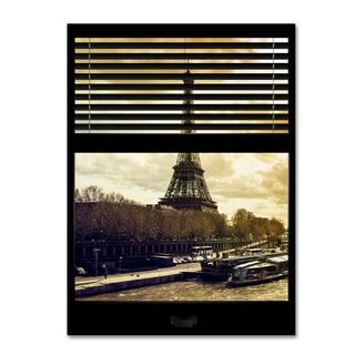 Philippe Hugonnard 'Window View Paris at Sunset 5' 24x32 Canvas Wall Art