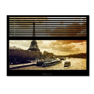 Philippe Hugonnard 'Window View Paris at Sunset 1' 24x32 Canvas Wall Art