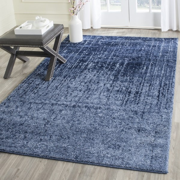 Safavieh Retro Mid-Century Modern Abstract Light Blue/ Blue Distressed Rug - 6' Square