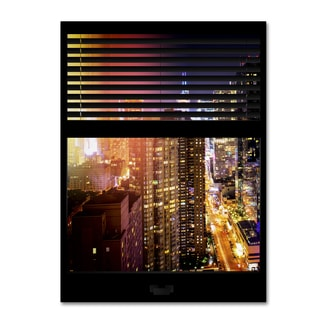 Philippe Hugonnard 'Window View Manhattan Night 5' 24x32 Canvas Wall Art