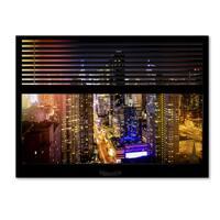 Philippe Hugonnard 'Window View Manhattan Night 1' 24x32 Canvas Wall Art