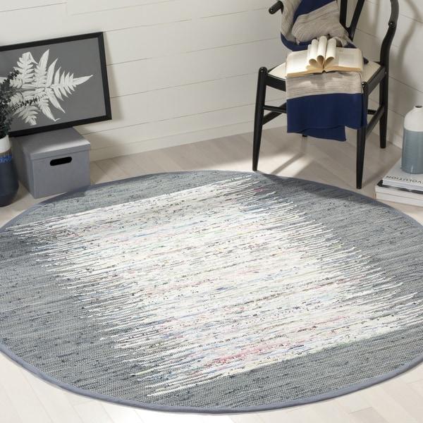 Safavieh Montauk Hand-Woven Flatweave Ivory/ Grey Border Cotton Tassel Area Rug - 6' X 6' Round