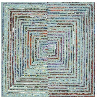 Safavieh Handmade Nantucket Modern Abstract Teal Cotton Rug (4' x 4' Square)