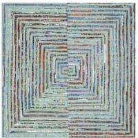 Safavieh Handmade Nantucket Modern Abstract Teal Cotton Rug - 4' Square
