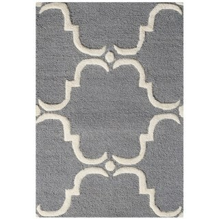 Safavieh Handmade Cambridge Dark Grey/ Ivory Wool Rug (2'6 x 4')