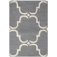 Safavieh Handmade Cambridge Dark Grey/ Ivory Wool Rug - 2'6 x 4'