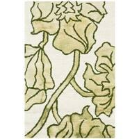 Safavieh Handmade Dip Dye Watercolor Vintage Ivory/ Light Green Wool Rug - 2' x 3'
