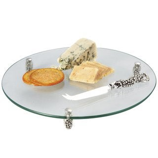 Elegance Glass Cheese Tray With Silver Grape Server