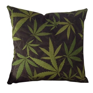 MJFI 20-inch Cannabis Bliss Marijuana Botanical Print Microfiber Throw Pillow
