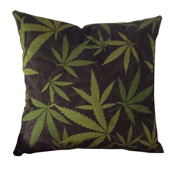 Mary Jane Furniture 24-inch Cannabis Bliss Black and Green Marijuana Botanical Print Microfiber Throw Pillow