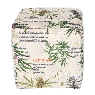 MJFI Hot Box Beige, Green and Purple Marijuana Botanical Print Square Ottoman