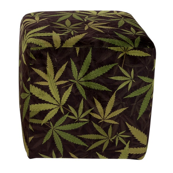 MJFI Hot Box Square Black and Green Marijuana Botanical Print Hot Box Ottoman
