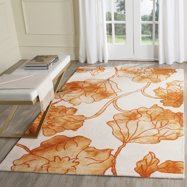Safavieh Handmade Dip Dye Watercolor Vintage Ivory/ Orange Wool Rug (2' x 3')