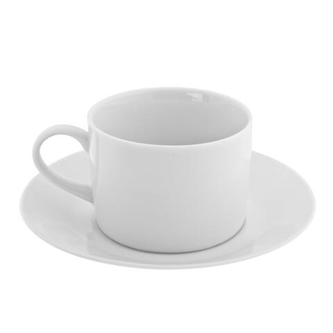 10 Strawberry Street Royal White Can Cup/Saucer Set of 6