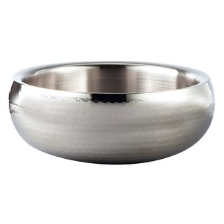"Elegance Hammered 11"" Round Stainless Steel Doublewall Serving Bowl"