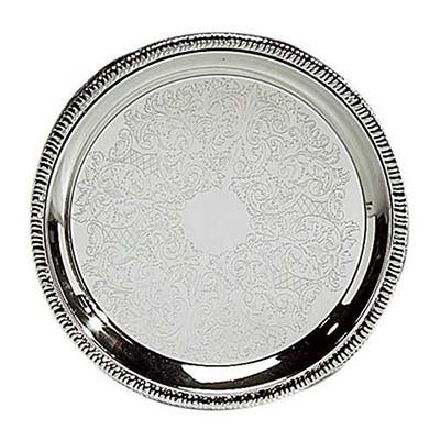 Heim Concept Stainless Steel 12-inch Gadroon Etched Round Tray