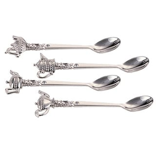 Elegance Silver Plated Teapot Spoons with Crystal (Set of 4)